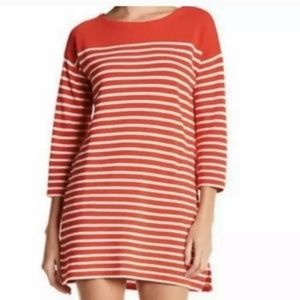 ❤J. CREW POPPY RED AND IVORY STRIPED TUNIC/DRESS